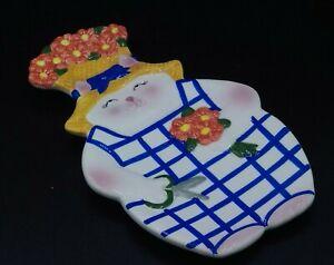 Clay Art BLOOMIN CAT Spoon Rest Kitty Cat Flower Gardener