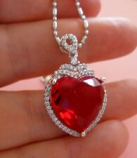 RED HEART PENDANT With CHAIN. Surrounded with heaps of sparkling little crystals