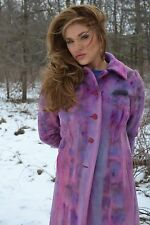 NEW ANN TAYLOR WINTER S M SIZE 6 100% CASHMERE BUTTON DOWN COAT PINK PURPLE BLUE