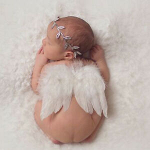 Infant Leaves Headband Feather Angel Wings Costume Baby Photo Props