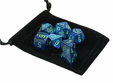 New Chessex Polyhedral Dice with Bag Dark Blue Lustrous 7 Piece Set DnD RPG
