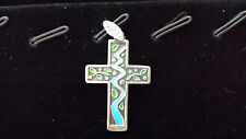 Tree by Stream Cross Pendant by Hand Made in Natural Silver & Enamel
