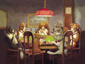 framed Dog poker Vintage canvas art painting wall décor abstract artwork print