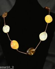 Natural Coloured Acrylic Polished Stone Effect Necklace CJN023