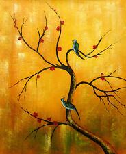Original oil Painting - CHERRY TREE & BIRDS Teiko Kodé - LARGE 101x122cm