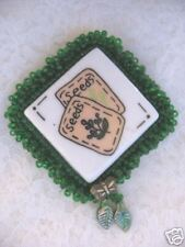 W/Green Glass Beads Handcrafted White Tile Pin