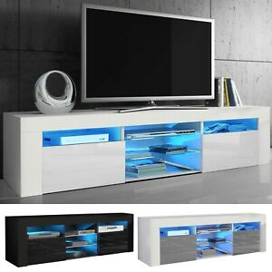 Modern TV Unit Cabinet High Gloss Doors With LED Light TV Stand Sideboard Drawer