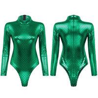 Women's Long Sleeve Bodysuit Monokini Mermaid Swimwear Shiny Metallic Clubwear