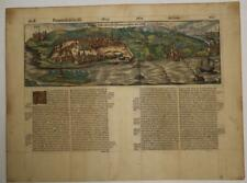 GOA INDIA 1575 BELLEFOREST UNUSUAL ANTIQUE WOODCUT CITY VIEW FRENCH EDITION