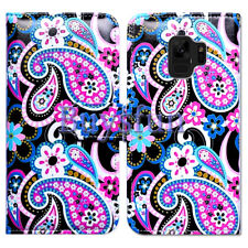 Bcov Pink Paisley Black Leather Wallet Case Cover For Samsung Galaxy S9 Plus/+
