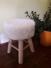 Cream Fauxfur FootStool With Wooden Legs