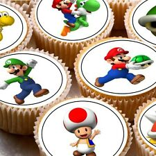 24 Edible cake toppers wafer rice paper super mario brothers mixed characters