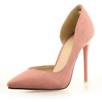 Fashion Womens High Heel Suede Slow Cut Point Toe Pumps Stiletto Court Shoes