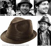New Black Worn Leather Look Hat Ladies Mens Boys Trilby Pork Pie Gangster fedora