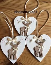 3 X Christmas Decorations Reindeer Shabby Chic Rustic Real Wood Heart Cream Bows