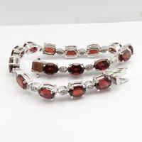 "925 Pure Sterling Silver Flawless Natural GARNET Bracelet 7.2"" Best Jewelry Gift"