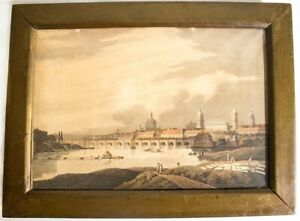 Antique Aquatint Art Work European City Published by Bowger 1815 Etching