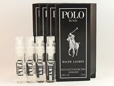 RALPH LAUREN POLO BLACK 1.5ml .05fl oz x 4 COLOGNE SPRAY SAMPLE VIAL MINI