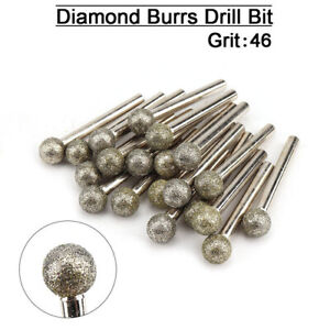 Diamond Coated 6-30mm Spherical Head Mounted Point Grinding Bits Round Ball Type