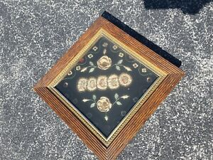 Antique FUNERAL Victorian Shadow Box Oak Frame 1880's Death Mourning ROCCO $149