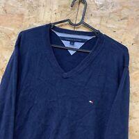 Tommy Hilfiger Men's Jumper Sweater Pullover Navy Blue V Neck L 100% Cotton