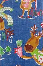 Santas Reindeer Christmas Party Vinyl Flannel Back Tablecloth Various Sizes