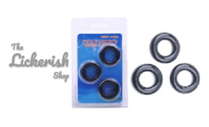 Triple Rubber Penis Cock Ring Set Stretchy Stay Hard Erection Delay