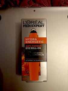 L'Oreal Men Expert Hydra Energetic Anti-Fatigue Ice Eye Roll-On 10ml BNIB