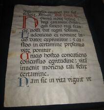 """XVI secolo. Pagina manoscritta su pergamena da """"Acta Sanctorum mensis Augustum""""."""