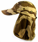 Youth Kids Sun Flap Hat with Neck Cover Curved Cotton Cap 8 Colors! Solid & Camo