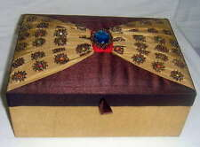Embroidered Jewellery Box 8x25x17cm with internal lift out ring tray.