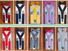 NEW Elastic Suspender and Bow Tie Sets for Girls  Boys Kids