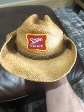 Licensed Miller High Life Classic 100% Straw Cowboy Beer Hat