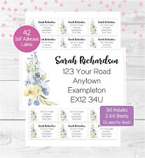 Flowers (Blue/Cream) Personalised Address Labels, 42 Birthday/Wedding Stickers