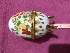 Egg Trinket Box Three Footed Floral Porcelain Box Vanity Accessory