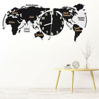 Acrylic Unique Wall Clock World Map Hanging Clock For Office Home Living Room