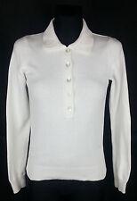 Gant White Long Sleeve Women's Knit Polo Shirt Size:XS 100% Cotton
