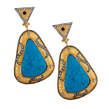 14K Yellow Gold Plated Brass Turquoise CZ Fashion Designer Earrings Jewelry