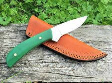 Custom D2 Steel & Jade Green G10 Hunting Knife (Bird & Trout) by DCKC FREE Ship