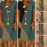 VONDA Women Plus Size Baggy Short Sleeve Midi Shirt Dress Sundress Summer Casual