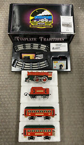 + MTH Standard Gauge Tinplate Christmas 384 Steam Passenger Set PS.2 10-1295-1