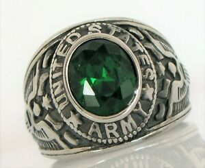 VINTAGE MEN'S SILVER ALLOY CLASS RING UNITED STATES ARMY GREEN STONE EAGLES HUGE