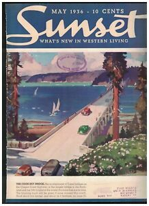 1936 Sunset May - Coos Bay Bridge; Houses on Hood's Canal, L.A. and San Jose CA.