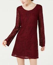 $259 Speechless Juniors' Womens Red Crochet Lace Long Sleeve Shift Dress Size S