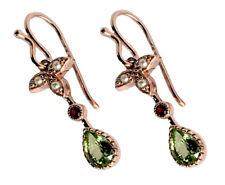 E152 Genuine 9K Rose Gold Natural Peridot Garnet Pearl Victorian style Earrings