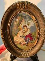 Antique Oval -Frame Wood Needlepoint Tapestry Point Victorian Art Romeo & Juliet