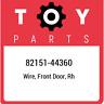 82151-44360 Toyota Wire, front door, rh 8215144360, New Genuine OEM Part