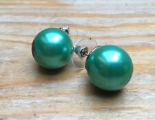 Chunky Green Faux Pearl Stud Design Earrings/Bobble/Round/Retro/Rockabilly
