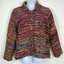 The Territory Ahead Womens XL Jacket Tweed 100% Silk Multicolored Lined Buttons