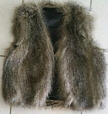 Faux Fur Vest Women Sz S Brown Long Hair Sleeveless New C12